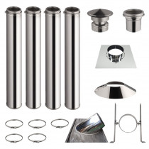 KIT 4 TUBOS DE CHIMENEA DOBLE PARED 100CM - Ø 125-150-180-200MM